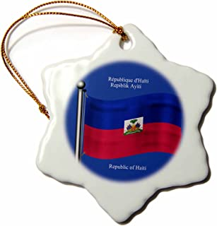 3dRose ORN_63253_1 Flag of Haiti Waving with Republic of Haiti Printed in English, French, Haitian Creole Snowflake Porcelain Ornament, 3-Inch