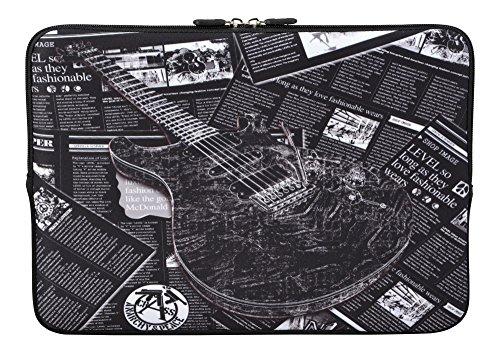 MySleeveDesign Laptoptasche Notebooktasche Sleeve für 10,2 Zoll / 11,6-12,1 Zoll / 13,3 Zoll / 14 Zoll / 15,6 Zoll / 17,3 Zoll - Neopren Schutzhülle mit VERSCH. Designs - Grey Guitar [10]