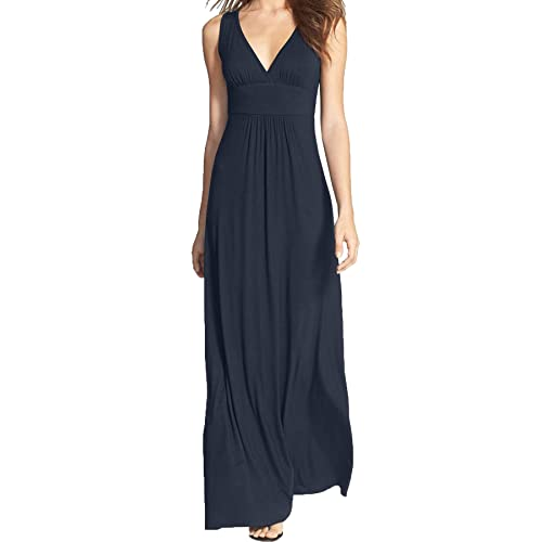 130387c250ae WOOSEA Women Sleeveless Deep V Neck Loose Plain Long Maxi Casual Dress