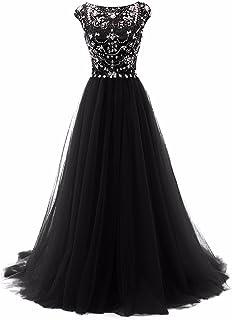 fdc5dd10a2 Promworld Women s Wedding Bridesmaid Dress Cap Sleeve Crystal Tulle Long  Prom Dresses