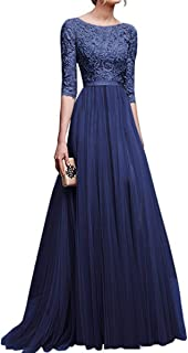 JOEWIT Women Long Lace Evening Formal Cocktail Party Ball Gown Prom Bridesmaid Dress
