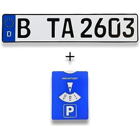 Ta Tradearea 1 Standard Pkw Eu Kennzeichen In Der Größe 520x110 Mm Inklusive Einer Parkscheibe Auto