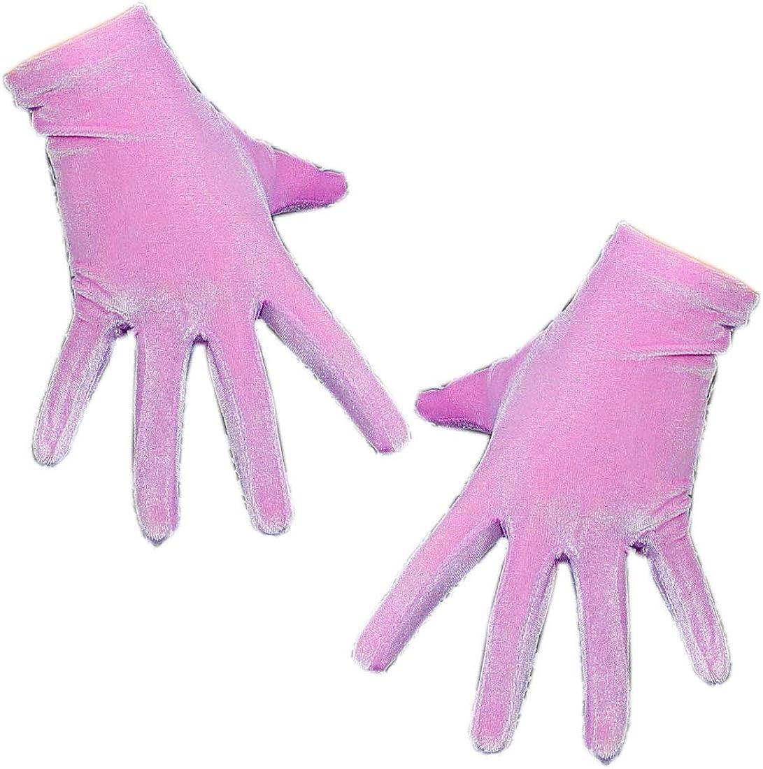 Women Velvet Gloves Opera Long Stretchy Elastic Flannel Light Hot Pink Tech Wrist Short Drees