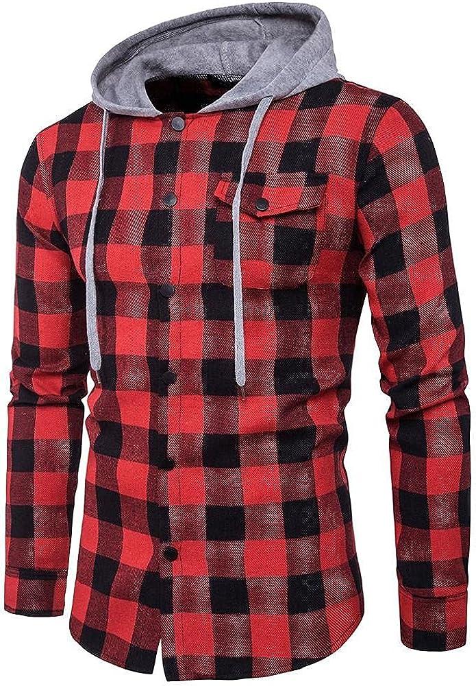 XUETON Mens Plaid Hooded Shirts Cotton Comfy Casual Long Sleeve Button Down Lightweight Jackets Shirt Sweartshirt