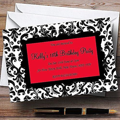 Ahorre 35% - 70% de descuento negro y rojo damasco personalizado invitaciones de fiesta fiesta fiesta  tienda de venta en línea