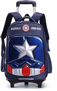 Capitán América Niños de la Carretilla de Escolar del niño de 6 Ruedas para Subir escaleras Desmontable Mochila