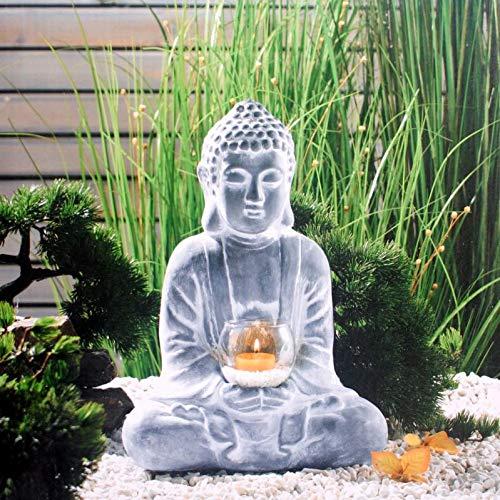 RPLW Buddha Statue Candle Holder,Retro Zen Buddha Sculpture,Candlestick Figurine Vintage Decor Meditating Buddha for Outdoor Garden A