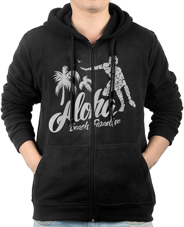 Aloha Beach Sweater Shirt Zipper Jacket Breathable Hoody For Mens Fit Running Black
