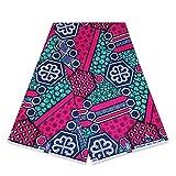 Afrikanischer Stoff mit geometrischem Muster, ca. 6 m, Pink