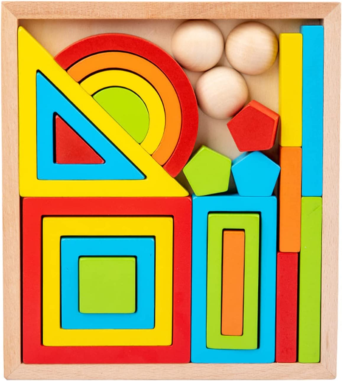 Wooden Max 48% OFF Rainbow Tower Stacker New product!! Building STEM Colorful Mont Blocks