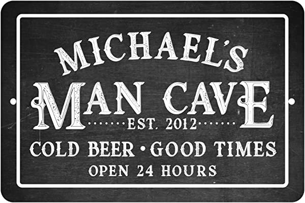 Pattern Pop Personalized Chalkboard Man Cave Cold Beer Good Times Metal Room Sign