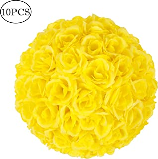 Z ZTDM 10 Inch Artificial Romantic Rose Flower Ball Bouquet for Home Outdoor Wedding Party Centerpieces Decorations (10PIECE, Yellow)