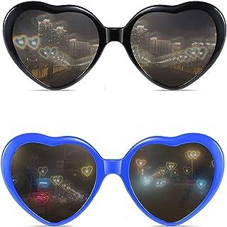 LJHJIJ88 - Gafas En Forma de Corazón Gafas de Sol En Forma de Corazón Lente de Gafas En Forma de Corazón Gafas de Moda En Forma de Corazón Para Fiesta Bar Fuegos Artificiales y Conciertos 2 Pares