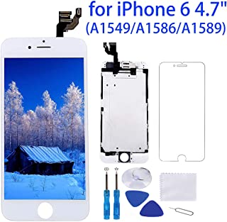 """Screen Replacement for iPhone 6 White 4.7"""" LCD Display Touch Digitizer Frame Full Assembly Repair Kit, with Proximity Sensor, Ear Speaker, Front Camera, Screen Protector, Repair Tools"""