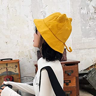 TXOZ Women's Autumn Hat, Shade Solid Color Cat Ears Fisherman Hat, Go Out Travel Wild Lady Hat (Color : Yellow)