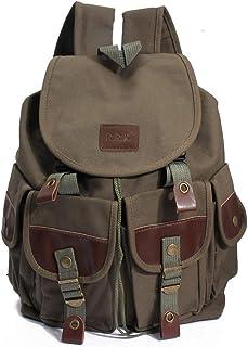 Mochilas de Lona, Popoti Mochila Escolar Bolsos Vintage Backpack Laptop Bag Daypack Unisex Rucksack Gran School Bag para P...