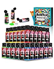 Acrylic Paint Set 24 Colors 2 fl.oz/60ml in Bottles for Canvas Wood Ceramic Fabric Non-Toxic Paints Kits with 10 Brushes for Kids Beginners Students Professional Artist