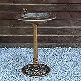 CLGarden Abbeveratoio per Uccelli VGT3, Vasca da Giardino, beverini con figurina di Uccello sulla Vasca d'Acqua, Decorazione Esterna per Terrazza Balcone in retrò Look