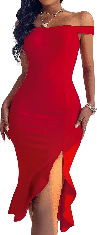 Floerns Women's Off The Shoulder Split Ruffle Hem Bodycon Midi Dress