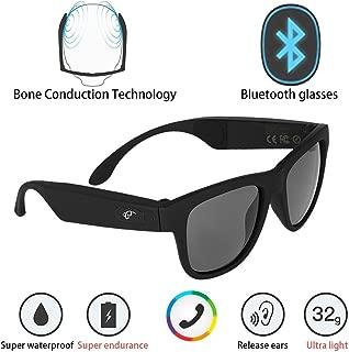 G1 Bone Conduction Headphones Polarized Glasses Sunglasses kkcite CSR8635 Bluetooth 4.0 Headset SmartTouch Stereo Music Earphone Wireless Headphone with Microphone Black (G1)