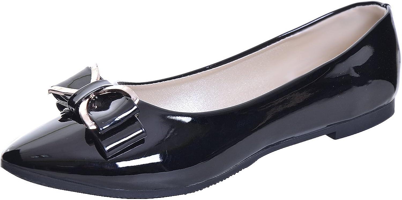 JACKY LUYI Women Pointy Toe Bowknot Slip-on Ballet Flats