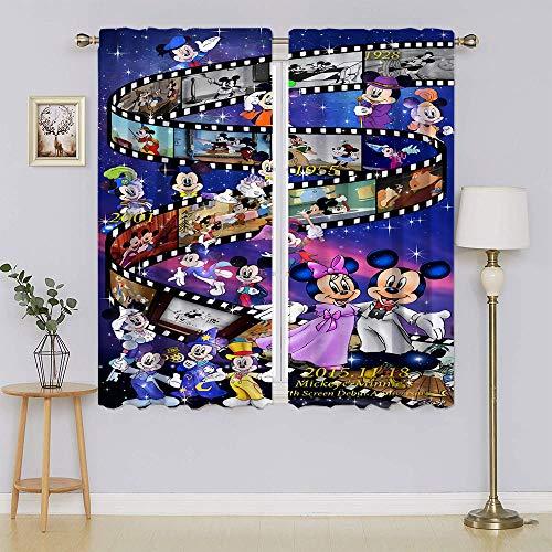 Mickey-Mouse - Cortina opaca con aislamiento térmico, filtrado de luz para mantener el calor, cortinas para dormitorio (52 x 63 pulgadas)