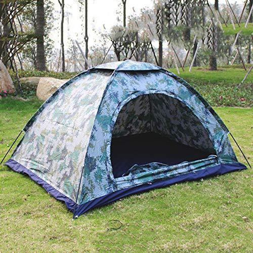 Ultralichte camouflagetent, waterdichte antimuggenschaduw, enkele laag met ronde deur voor campingtent voor buiten, 2 personen, eenvoudig in te stellen,Blue