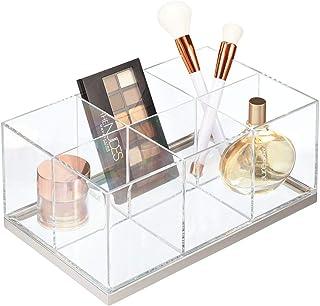 mDesign Organizador de maquillaje – Caja organizadora biselada con 6 compartimentos de plástico – Organizador de cosméticos para sombras de ojos, polvos, labiales, etc. – transparente y plateado mate