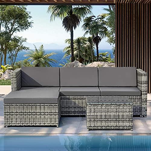 yanzz Conjunto de sofás de Polyrattan Lounge para Grupos de Asientos, Muebles de jardín, sofá de Esquina, Conjunto de sofás con Cojines para el Asiento y el Respaldo, Mesa de salón con Tapa de CRI