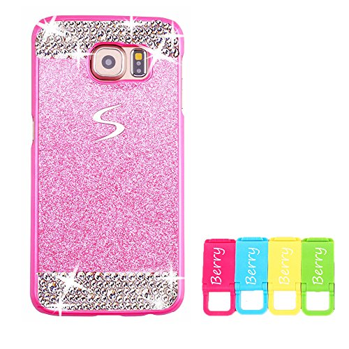 Berry Accessory(TM) Beauty Luxury Diamond Hybrid Glitter Bling Hard Shiny Sparkling with Crystal Rhinestone Cover Case for Samsung Galaxy Note 5 + Berry logo stand holder (Pink + Bling)