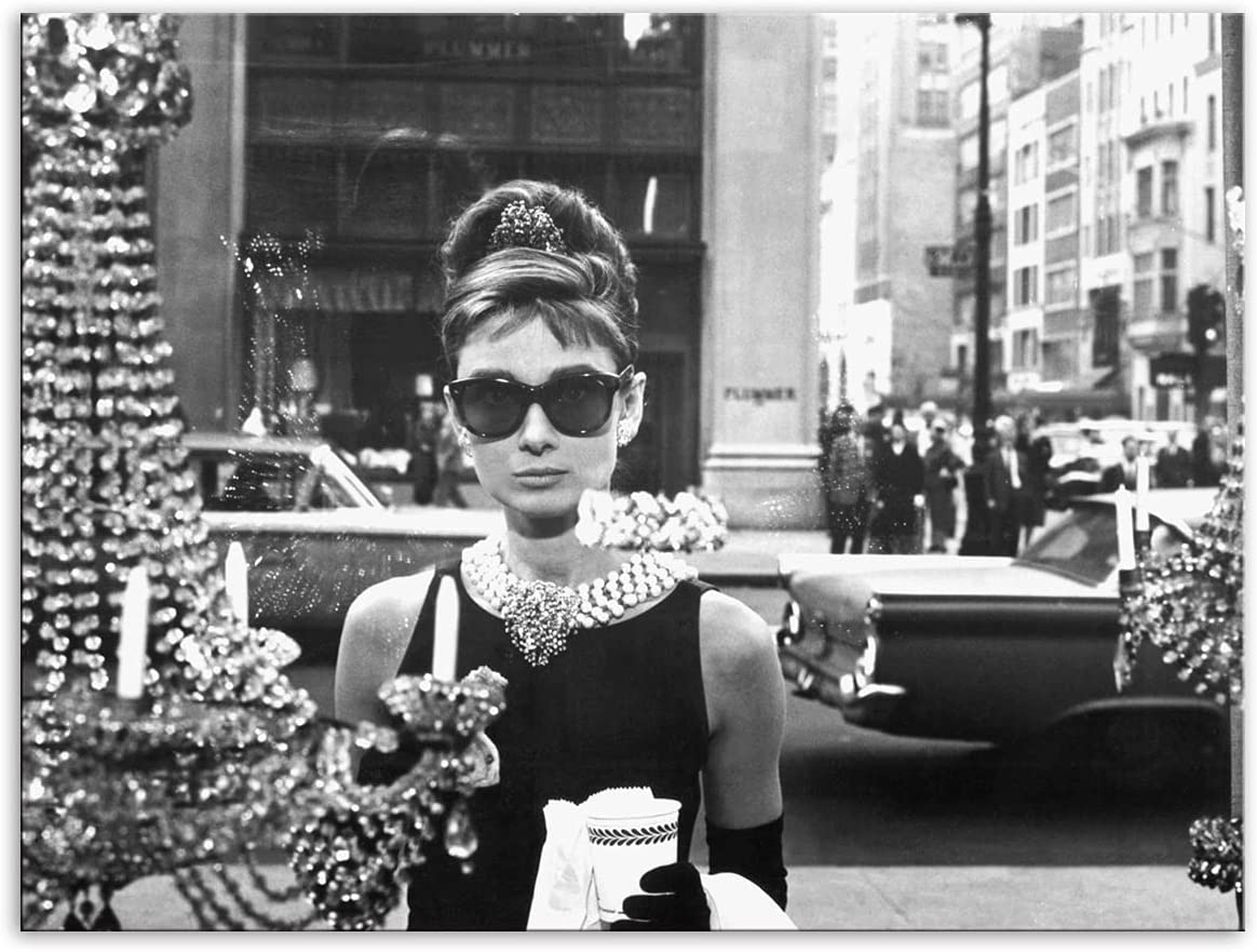 YGYT Canvas Wall Art for Audrey Hepburn Window Scene Breakfast at Tiffanys Poster on Canvas for Home Living Room Unframed 24x32inches