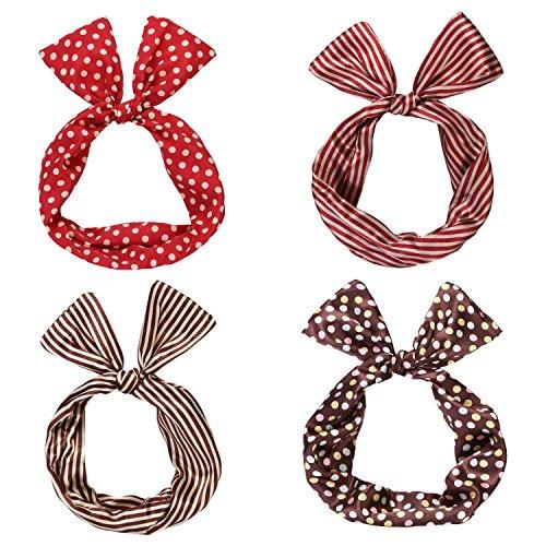 Sea Team Twist Bow Wired Headbands Scarf Wrap Hair Accessory Hairband (4 Packs)