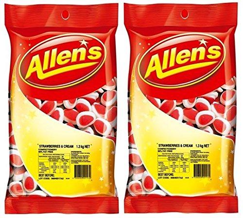 Bulk Lot 2 x Allens Strawberries 2.6kg Lollies Buffe Free Shipping Cheap Bargain Gift Bag Cream Translated