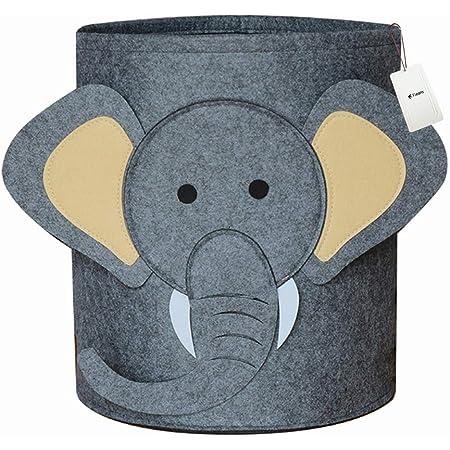 Fieans Enfant Panier à Linge Pliable en Feutre Éléphant Boîte de Rangement Chambre de Bébé Sac de Stockage pour Vêtements et Jouets - Gris Foncé