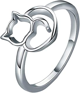 68be86bfb XBKPLO Rings for Women's Temperament 925 Cute Cat Kitty Silver Luxury  Engagement Wedding Band Jewelry Gifts