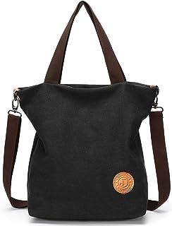JANSBEN Damen Canvas Handtasche Schultertasche Strandtasche Casual Multifunktionale Umhängetaschen Groß für Arbeit Schule Shopper Lässige täglich Schwarz