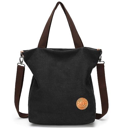 c8fa1cbfcc JANSBEN Damen Canvas Handtasche Schultertasche Casual Multifunktionale  Umhängetaschen Große für Arbeit Schule Shopper Lässige täglich (