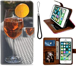 Wallet Leather Card Holder Case Fit for iPhone 6 Plus, iPhone 6S Plus, Aperol Spritz Fruity Herb Drink Benefit from Glass #301434 Stand Shockproof Bumper Protective Cover Anti Drop