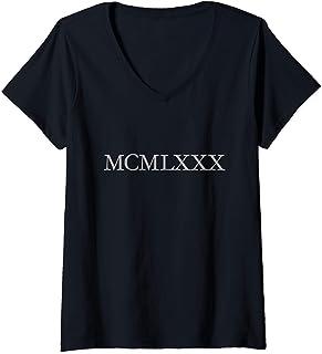 Damen MCMLXXX 1980 (Grau) 40. Geburtstag Geschenk T-Shirt mit V-Ausschnitt