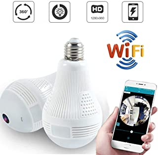 Quanmin HD 360° Wide Angle Fisheye Wireless Wi-fi E27 LED Light Bulb 960P VR Panoramic IP Camera for iOS Android Phone APP Home Security CCTV Camera System