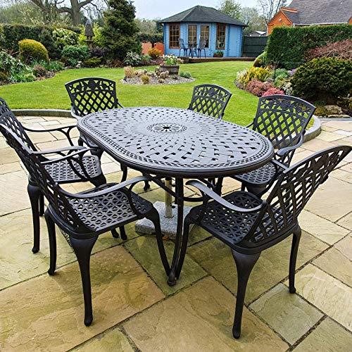 Lazy Susan JUNE 150 cm x 95 cm 6 Seater Oval Garden Table, Maintenance Free, Weatherproof, Sturdy, Sand-cast Aluminium, Antique Bronze Finish, Matching Rose Chairs