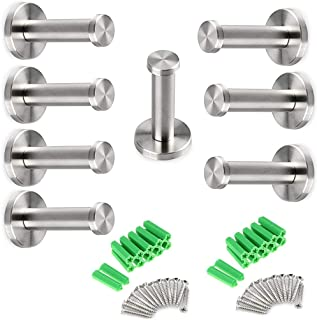 Brushed Stainless Steel Towel Hook, 8 Pcs Wall Mount Robe Coat Hangers Holder - Heavy Duty Contemporary Towels Hooks for B...