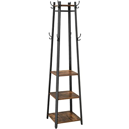 VASAGLE Coat Rack, Coat Stand with 3 Shelves, Hall Trees Free Standing with Hooks for Scarves, Bags and Umbrellas, Steel Frame, Industrial Style, Rustic Brown and Black ULCR80X
