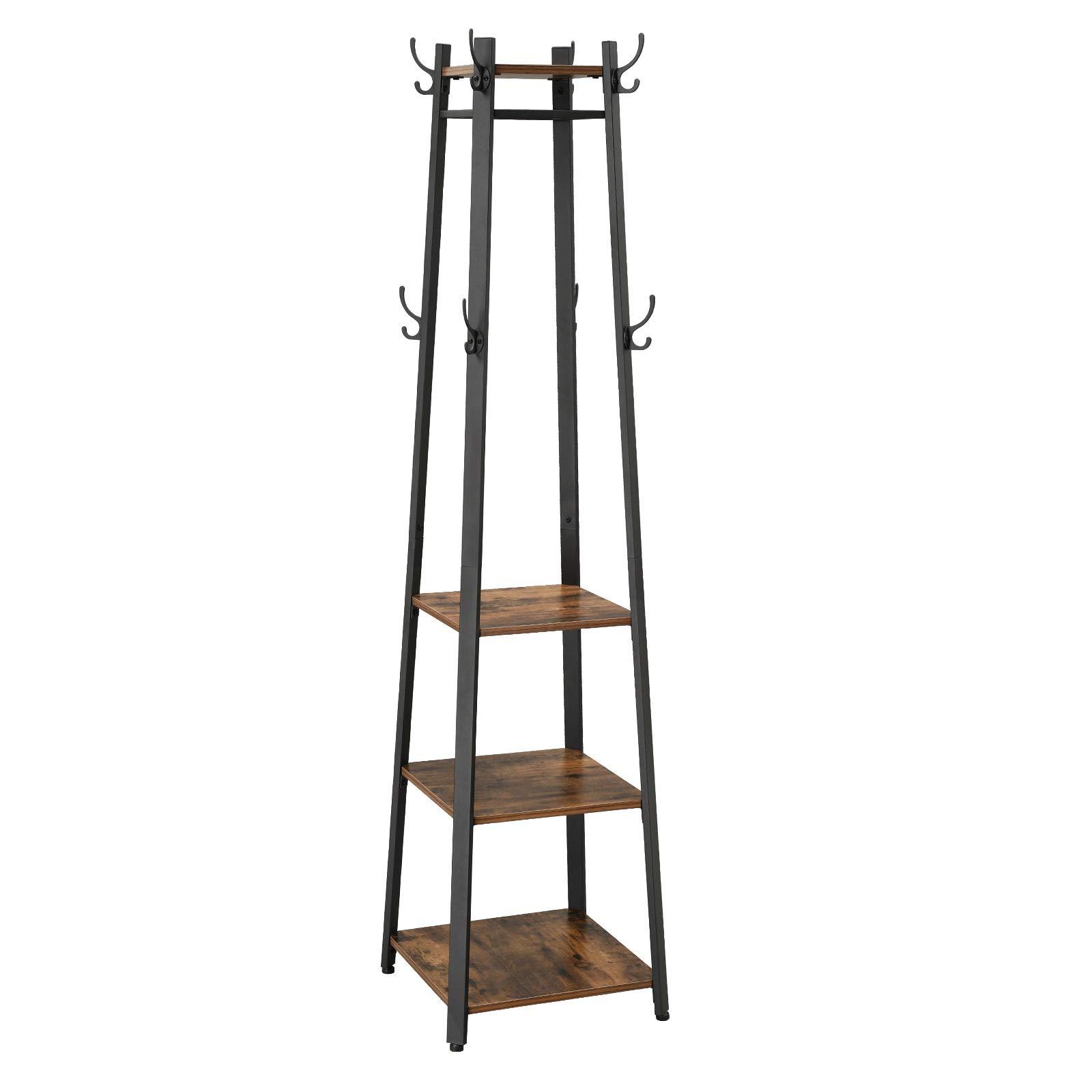 VASAGLE Perchero de Estilo Industrial, Perchero de Pie con 3 Estantes, en Forma de Escalera con ganchos y Barra, Marco de metal LCR80X: Amazon.es: Electrónica