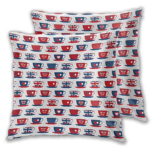 Tea Party Pillowcase Soft Decorative Great Britain Themed Teacup Forms Patterned Union Jack Hearts Flags for Sofa Bedroom Car 18 x 18 Inch 2 PCS Vermilion Night Blue