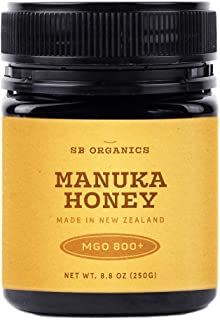 SB Organics MGO 800+ Raw Manuka Honey - Authentic Medicinal Grade Premium Certified New Zealand Honey – Non-GMO, Halal, Additive-Free, Quality Honey – 8.8 Ounces