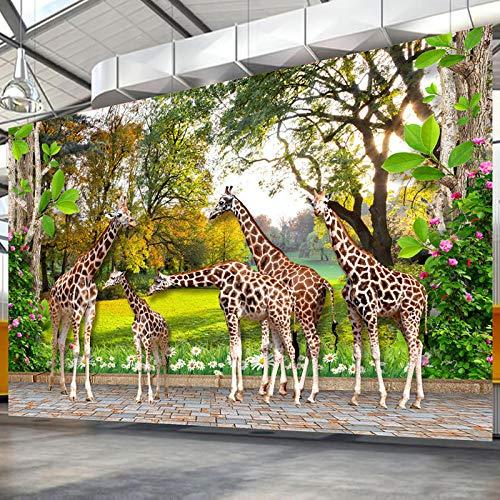 ZJfong HD dierenwereld giraffe bos fotobehang 3D stereo achtergrond wandfoto kinderkamer woonkamer cultuur 220x140cm
