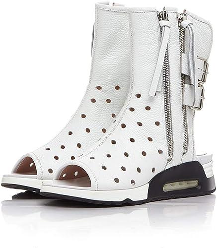 Genuine Leather femmes Sandals Heel Height 5 5 cm Wedges chaussures Breathable Summer Girls Slingback High Heel Sandals Woman blanc 5  à vendre en ligne