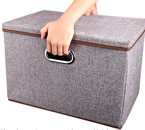 Storage Container Organizer bin CollapsibleLarge Foldable Linen Fabric Gray Box with Removable Lid and Handles for HomeBabyOfficeNurseryClosetBedroomLiving RoomNO Peculiar Smell 1-Pack
