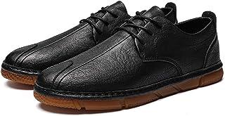 男士革靴 靴 男性 レジャー PUレザー カジュアル シンプル 快適 レトロ ノンスリップ シューズ 個性な (Color : ブラック, サイズ : 25 CM)